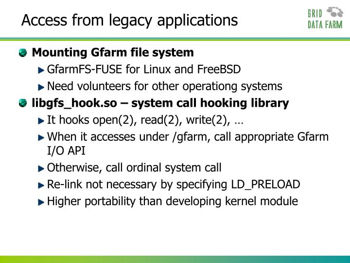 Access from legacy applications