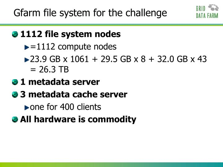 Gfarm file system for the challenge