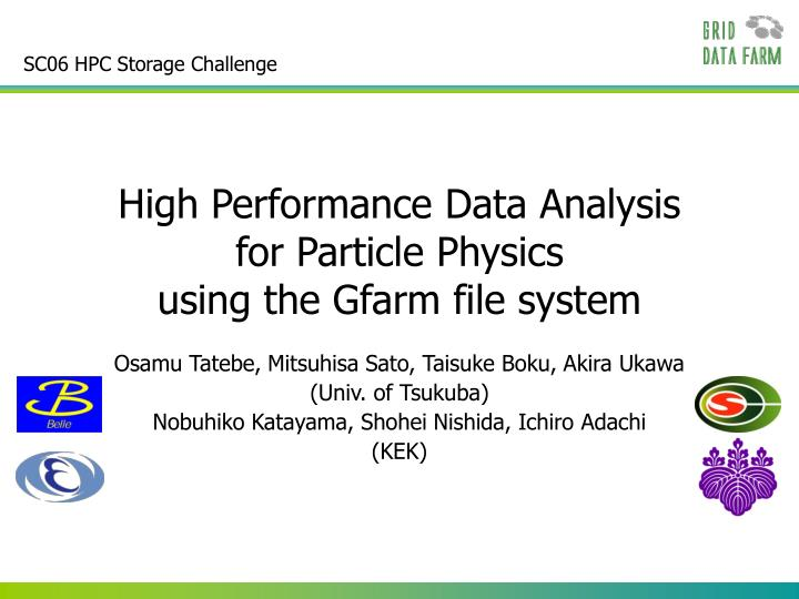SC06 HPC Storage Challenge