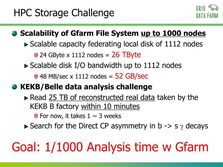 HPC Storage Challenge
