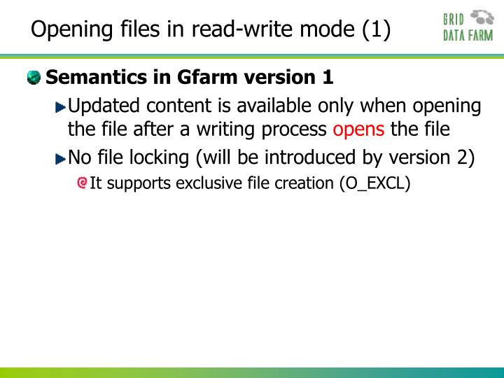 Opening files in read-write mode (1)