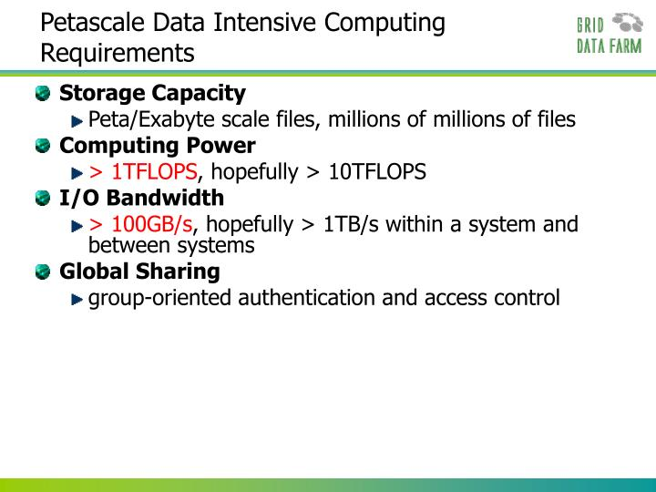 Petascale data intensive computing requirements