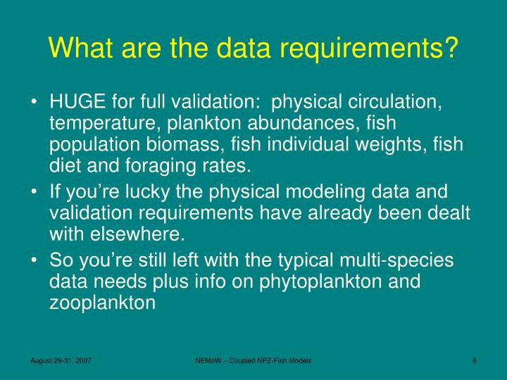 What are the data requirements?