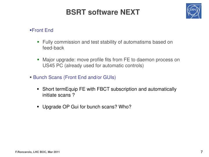 BSRT software NEXT