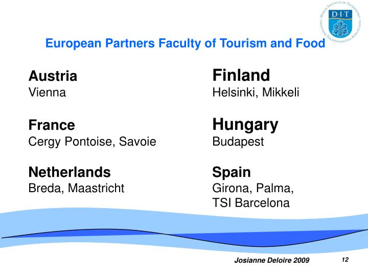 European Partners Faculty of Tourism and Food