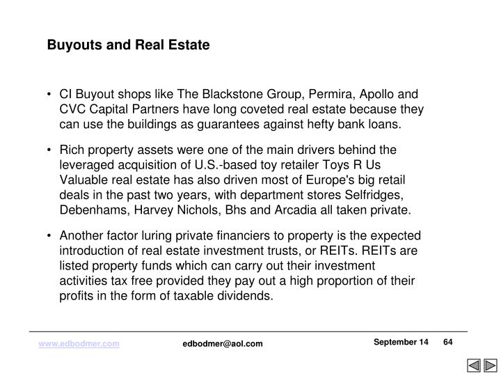 Buyouts and Real Estate