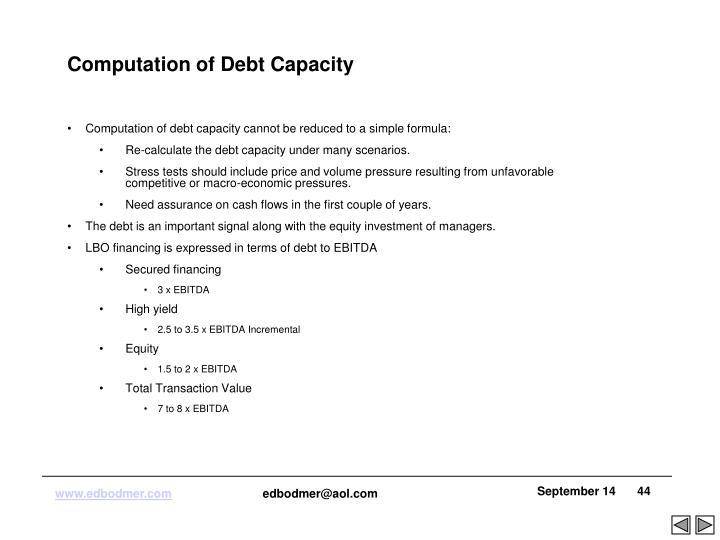Computation of Debt Capacity
