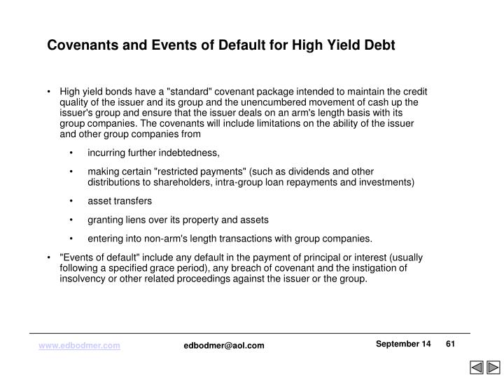 Covenants and Events of Default for High Yield Debt