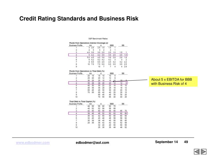 Credit Rating Standards and Business Risk