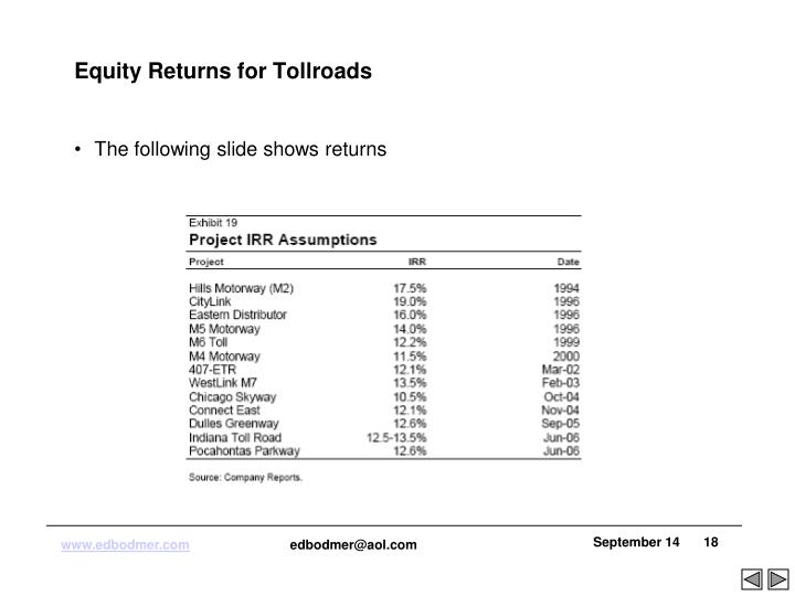 Equity Returns for Tollroads