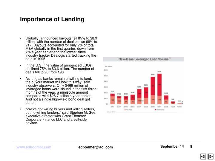 Importance of Lending