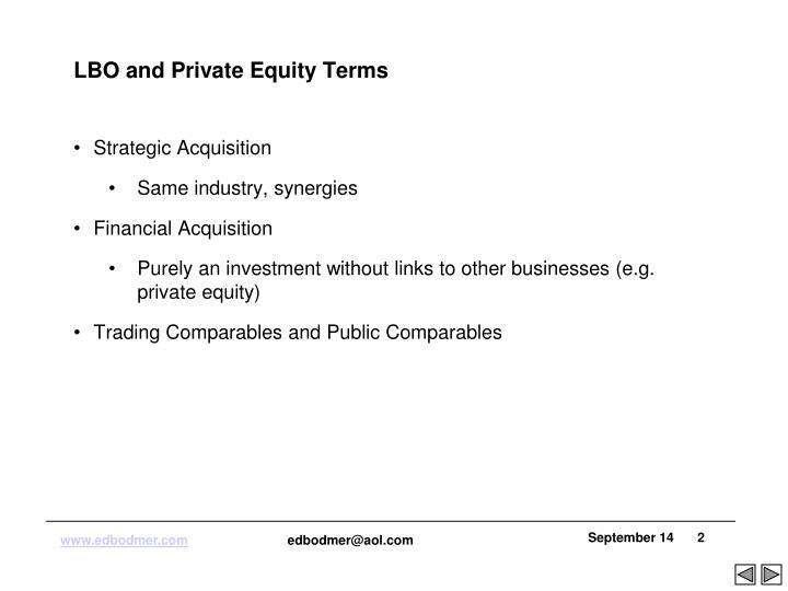 LBO and Private Equity Terms