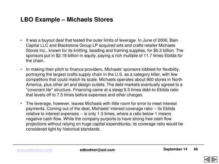 LBO Example – Michaels Stores