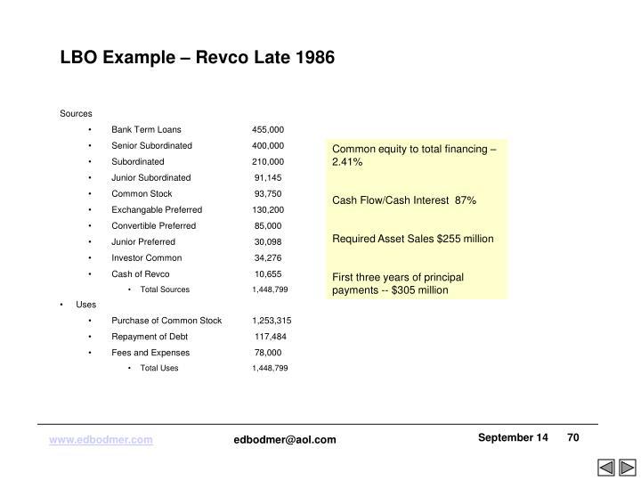 LBO Example – Revco Late 1986