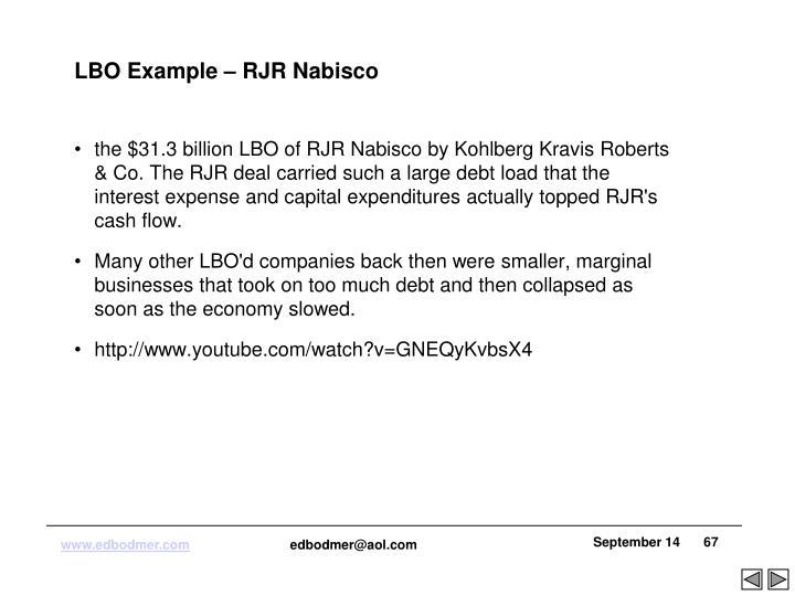 LBO Example – RJR Nabisco