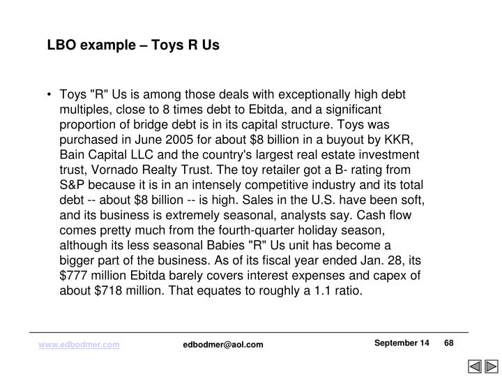 LBO example – Toys R Us