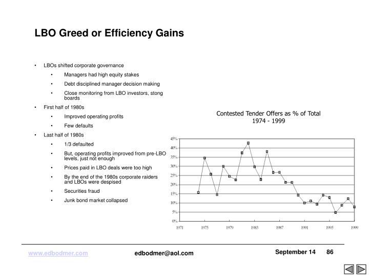 LBO Greed or Efficiency Gains
