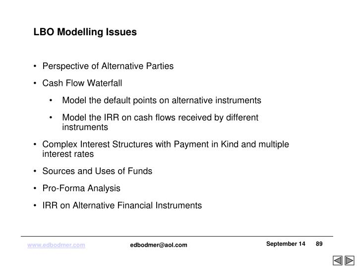 LBO Modelling Issues