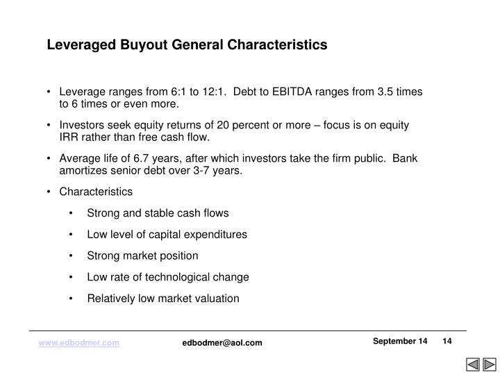 Leveraged Buyout General Characteristics