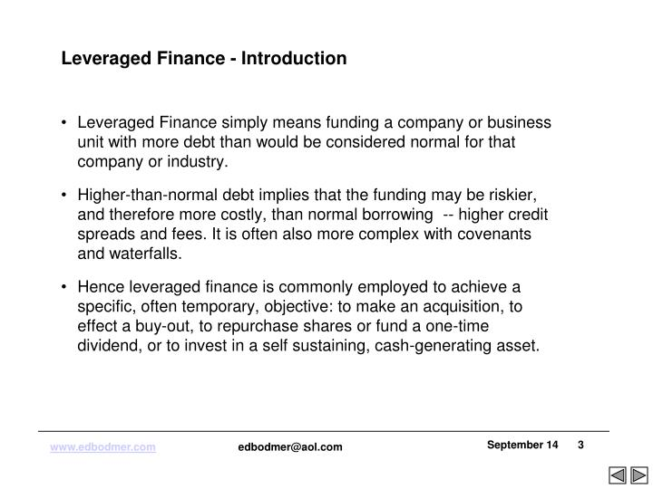 Leveraged Finance - Introduction