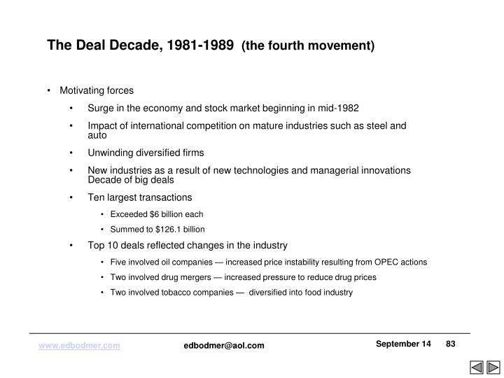 The Deal Decade, 1981-1989
