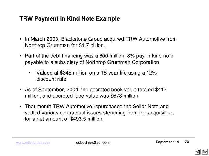 TRW Payment in Kind Note Example