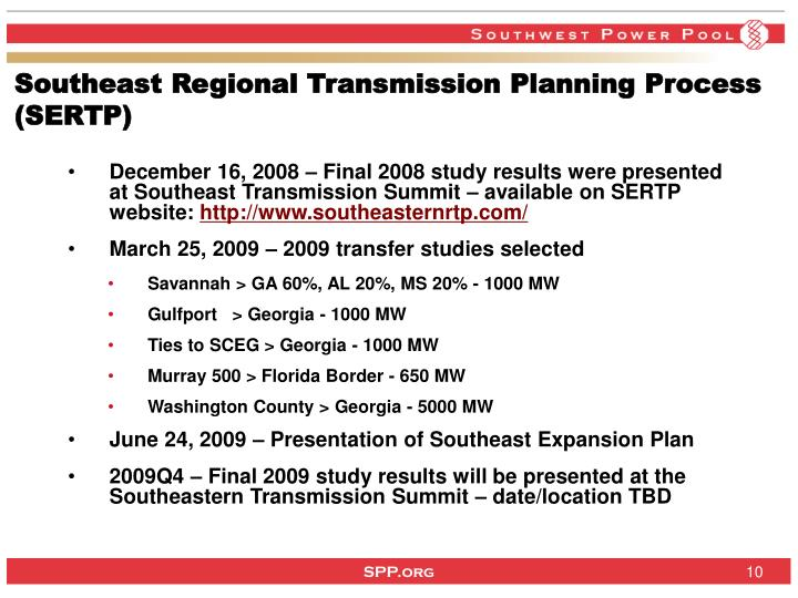 Southeast Regional Transmission Planning Process (SERTP)