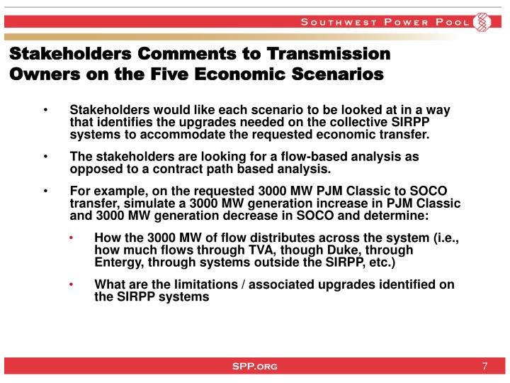 Stakeholders Comments to Transmission Owners on the Five Economic Scenarios