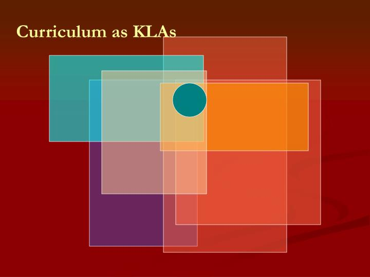Curriculum as KLAs