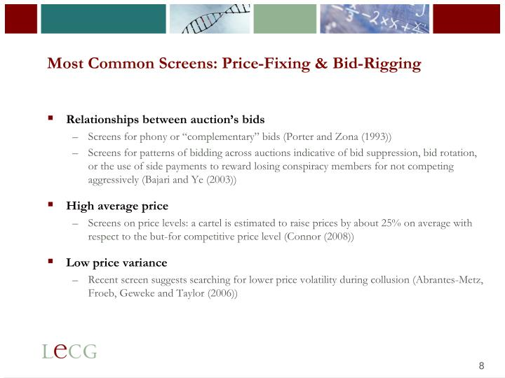 Most Common Screens: Price-Fixing & Bid-Rigging