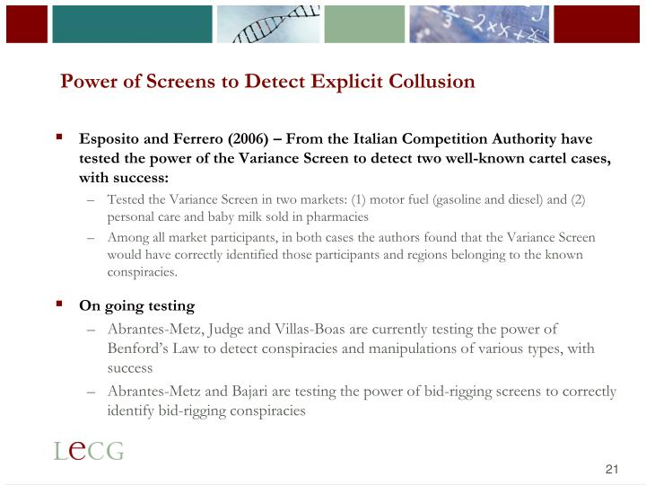 Power of Screens to Detect Explicit Collusion