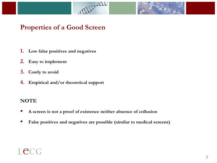 Properties of a Good Screen