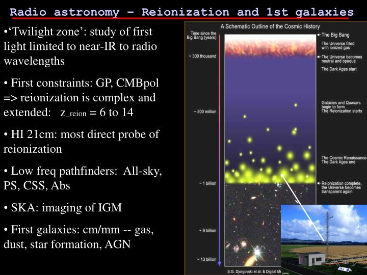 Radio astronomy – Reionization and 1st galaxies