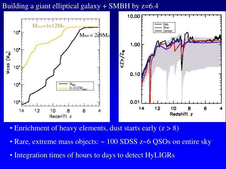 Building a giant elliptical galaxy + SMBH by z=6.4