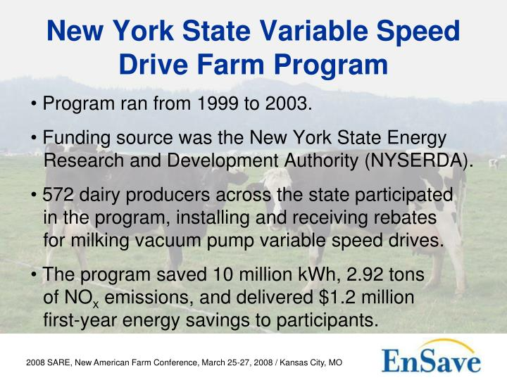 New York State Variable Speed Drive Farm Program
