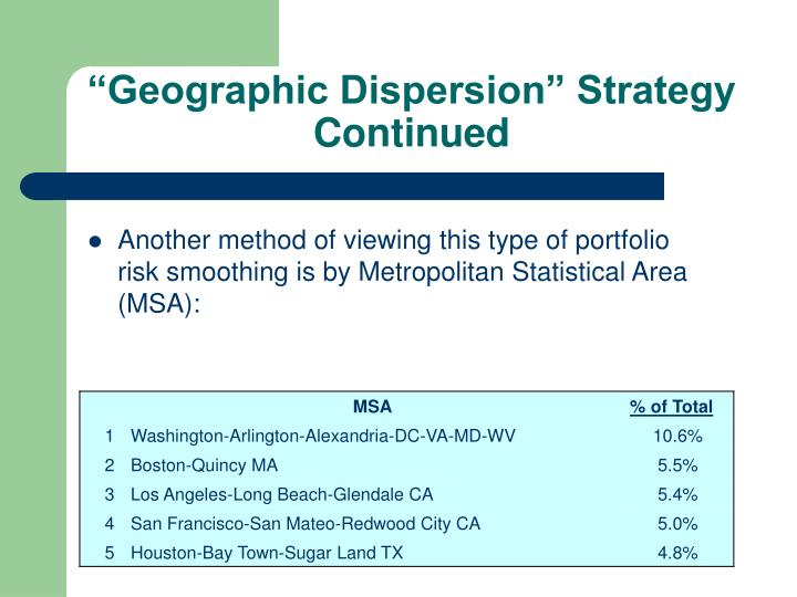 """Geographic Dispersion"" Strategy Continued"
