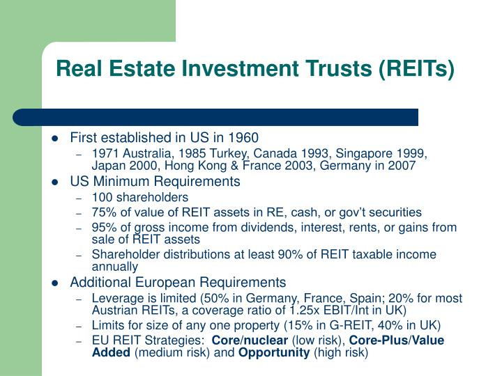 Real estate investment trusts reits