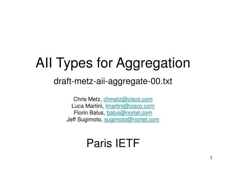 AII Types for Aggregation