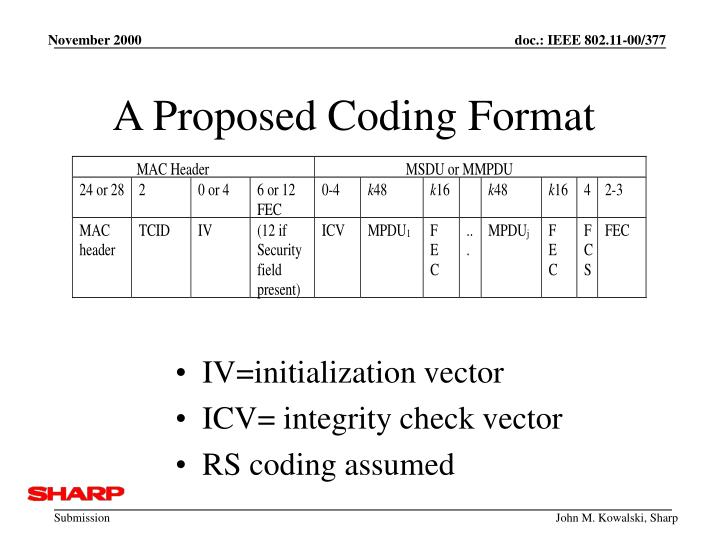 A Proposed Coding Format
