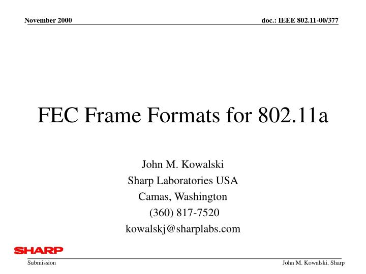 Fec frame formats for 802 11a