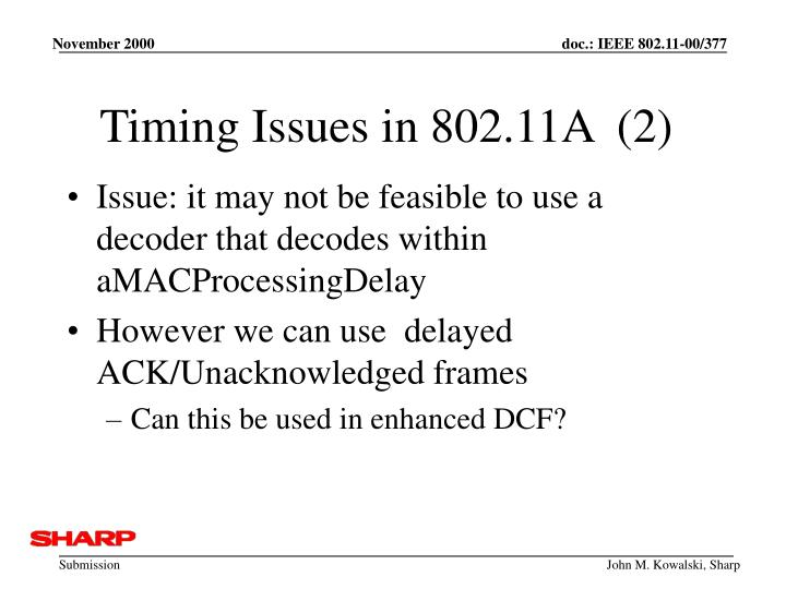 Timing Issues in 802.11A  (2)
