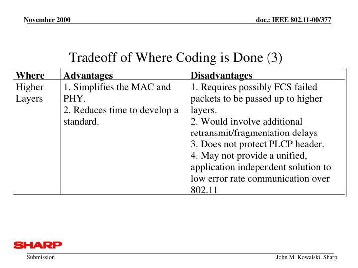 Tradeoff of Where Coding is Done (3)