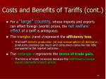 costs and benefits of tariffs cont
