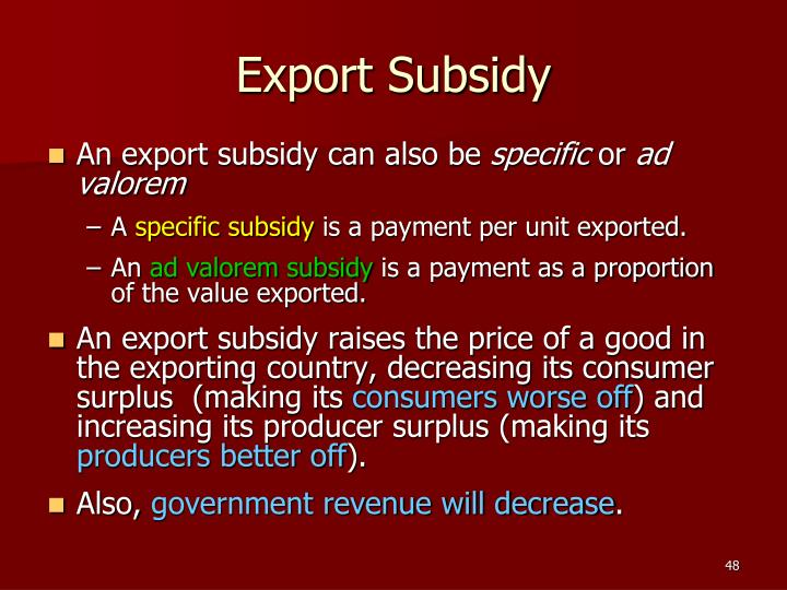 Export Subsidy