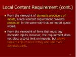 local content requirement cont