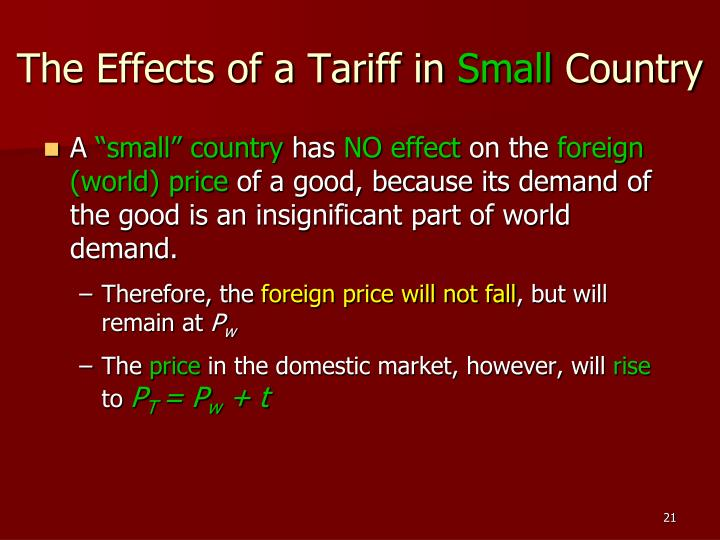 The Effects of a Tariff in