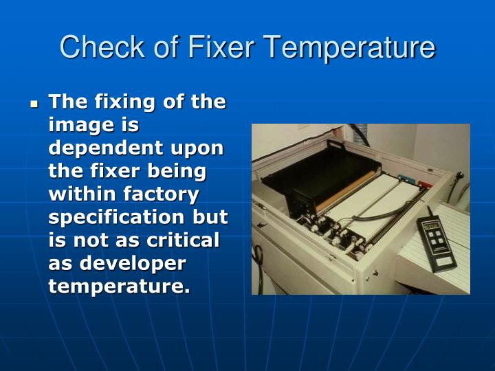 Check of Fixer Temperature