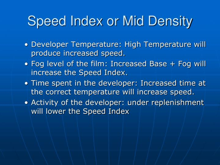 Speed Index or Mid Density