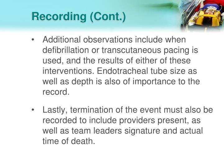 Recording (Cont.)
