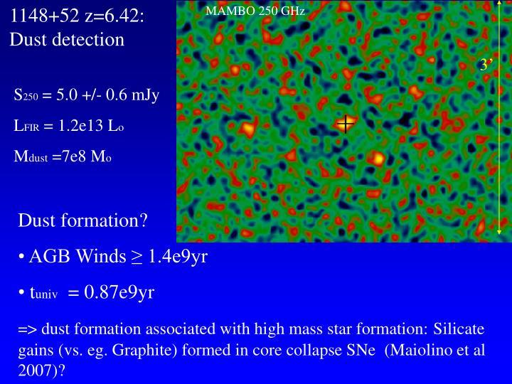 1148+52 z=6.42: Dust detection